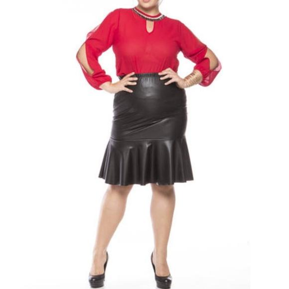 17276c6d9 Skirts   Plus Black Faux Leather Mermaid Ruffle Skirt   Poshmark